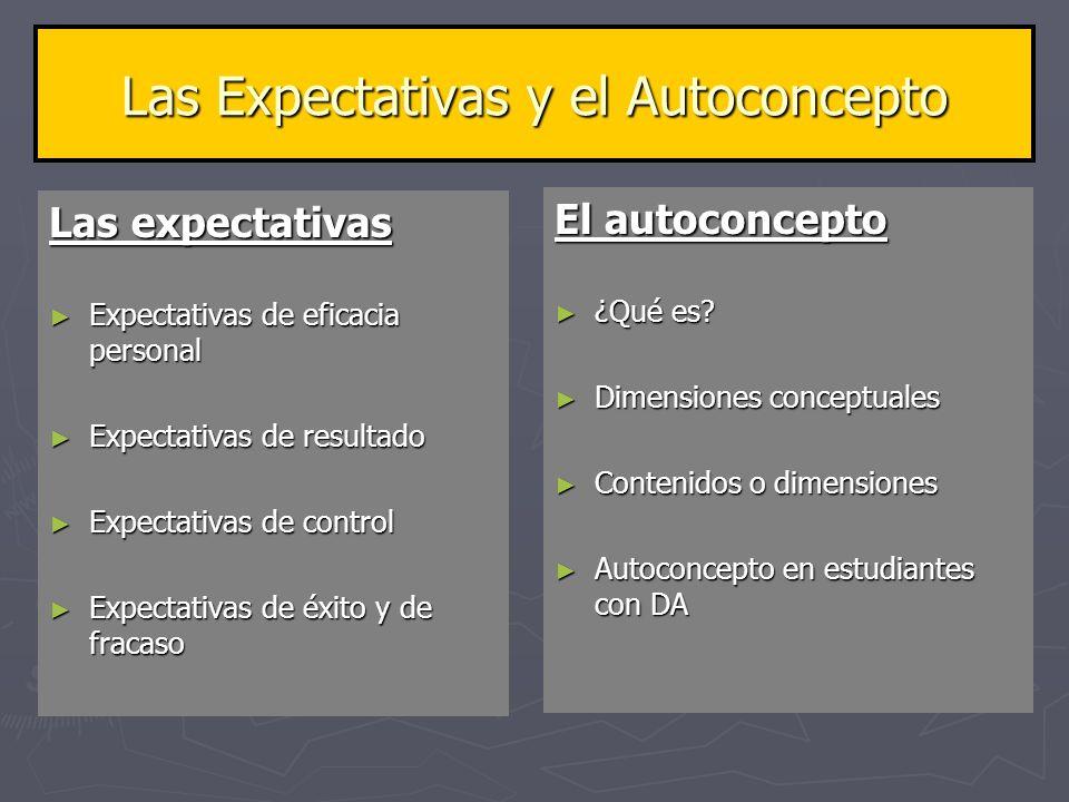 Las Expectativas y el Autoconcepto Las expectativas Expectativas de eficacia personal Expectativas de eficacia personal Expectativas de resultado Expe