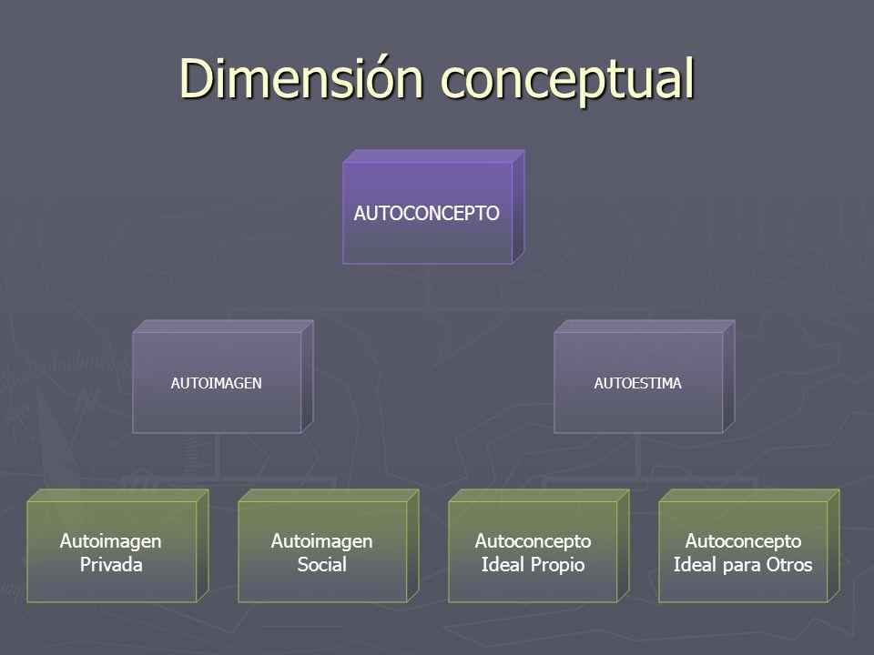 Dimensión conceptual AUTOCONCEPTO AUTOIMAGEN Autoimagen Privada Autoimagen Social AUTOESTIMA Autoconcepto Ideal Propio Autoconcepto Ideal para Otros