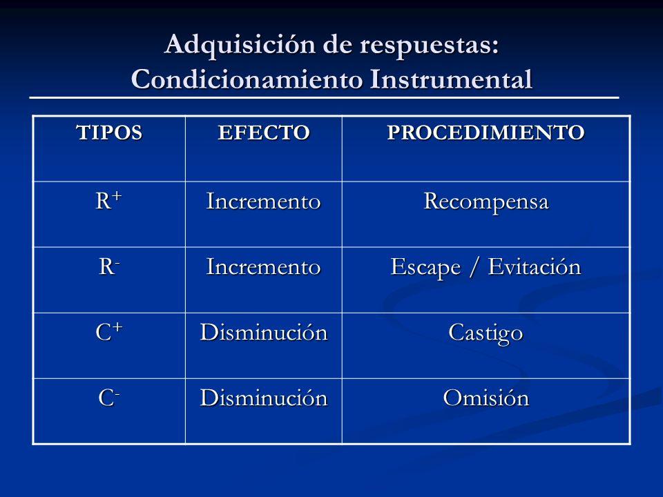 Adquisición de respuestas: Condicionamiento Instrumental TIPOSEFECTOPROCEDIMIENTO R+R+R+R+IncrementoRecompensa R-R-R-R-Incremento Escape / Evitación C