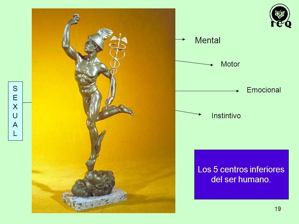19 Mercurio Mental Emocional Motor Instintivo SEXUALSEXUAL Los 5 centros inferiores del ser humano.