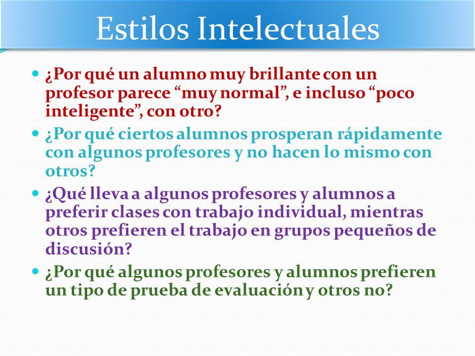 Estilos Intelectuales ¿Por qué un alumno muy brillante con un profesor parece muy normal, e incluso poco inteligente, con otro? ¿Por qué ciertos alumn
