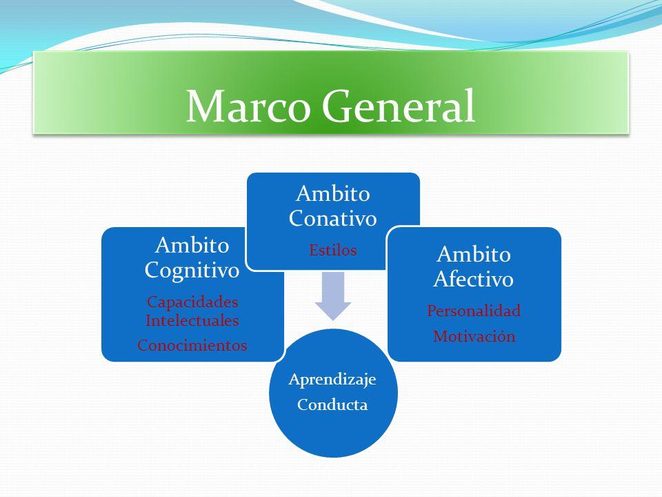 Marco General Aprendizaje Conducta Ambito Cognitivo Capacidades Intelectuales Conocimientos Ambito Conativo Estilos Ambito Afectivo Personalidad Motiv
