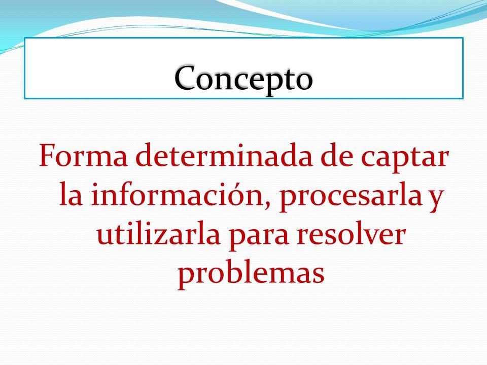 Concepto Forma determinada de captar la información, procesarla y utilizarla para resolver problemas