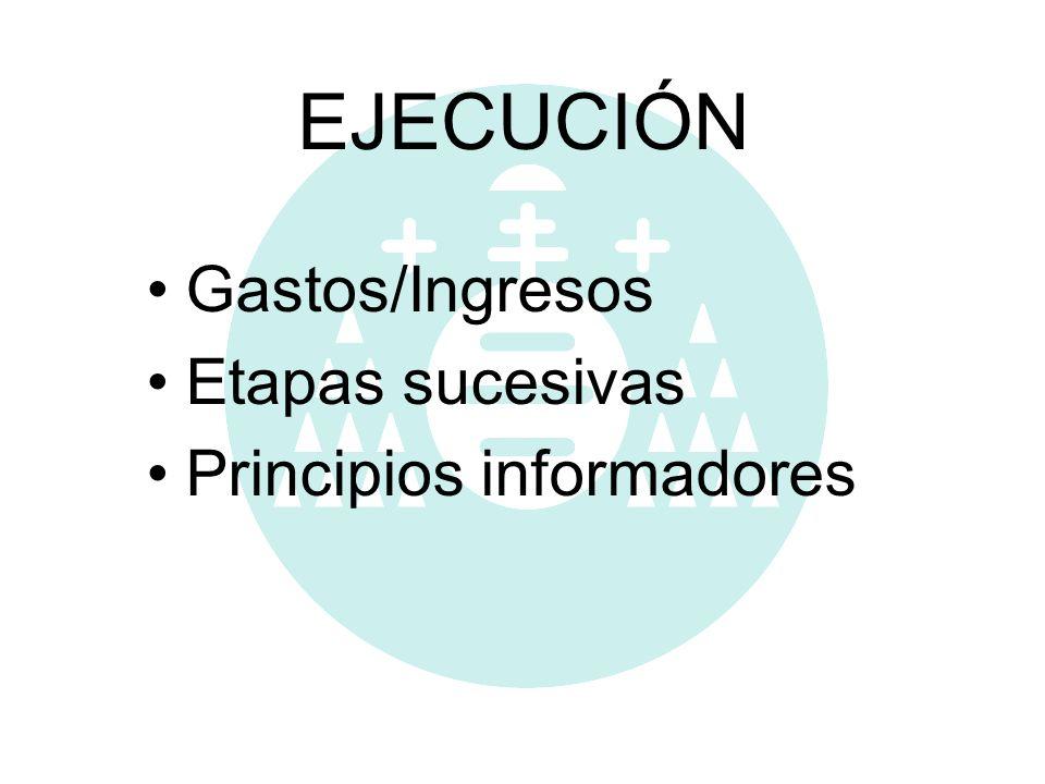 EJECUCIÓN Gastos/Ingresos Etapas sucesivas Principios informadores