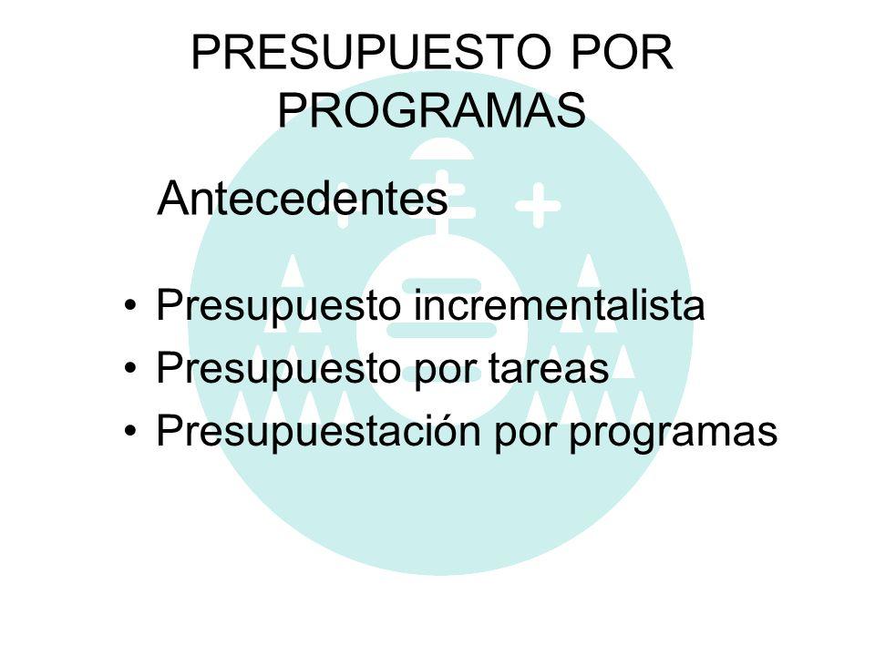 PRESUPUESTO POR PROGRAMAS Presupuesto incrementalista Presupuesto por tareas Presupuestación por programas Antecedentes