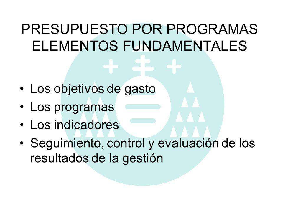 PRESUPUESTO POR PROGRAMAS ELEMENTOS FUNDAMENTALES Los objetivos de gasto Los programas Los indicadores Seguimiento, control y evaluación de los result
