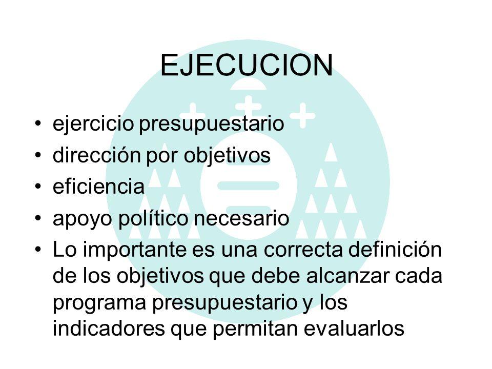 EJECUCION ejercicio presupuestario dirección por objetivos eficiencia apoyo político necesario Lo importante es una correcta definición de los objetiv