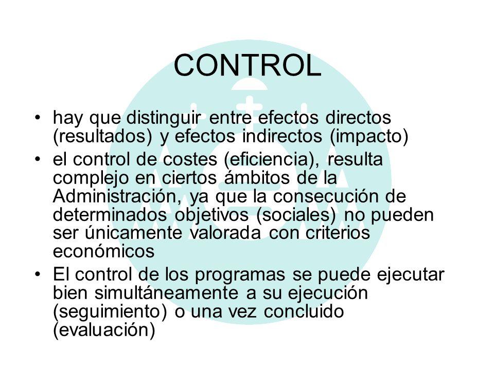CONTROL hay que distinguir entre efectos directos (resultados) y efectos indirectos (impacto) el control de costes (eficiencia), resulta complejo en c
