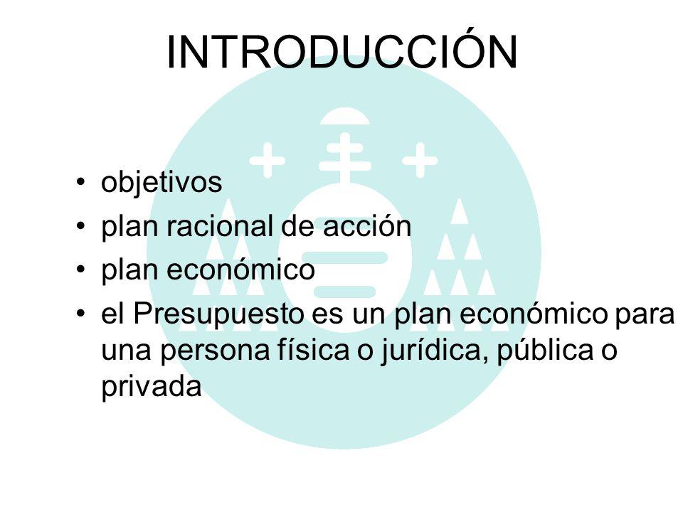 INTRODUCCIÓN objetivos plan racional de acción plan económico el Presupuesto es un plan económico para una persona física o jurídica, pública o privad