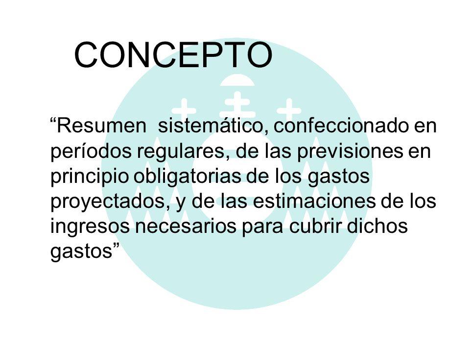 CONCEPTO Resumen sistemático, confeccionado en períodos regulares, de las previsiones en principio obligatorias de los gastos proyectados, y de las es