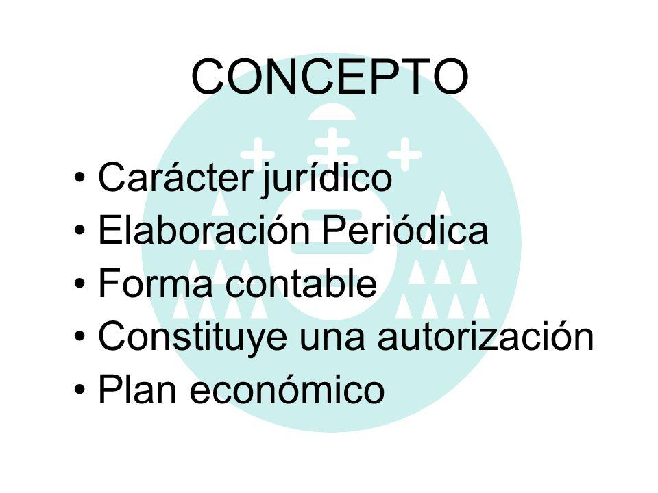 CONCEPTO Carácter jurídico Elaboración Periódica Forma contable Constituye una autorización Plan económico
