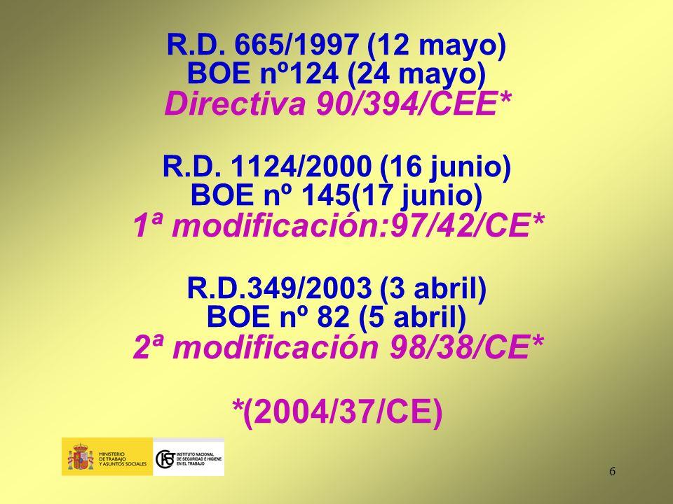 7 Art.1.OBJETO Y CAMPO DE APLICACIÓN RD 665/97 y modificaciones Protección y prevención de riesgos para la salud y seguridad derivados o que puedan derivarse de la exposición a cancerígenos y mutágenos durante el trabajo