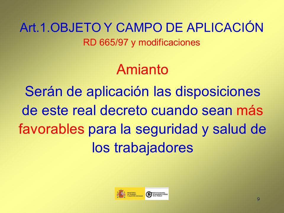 10 Art.2. DEFINICIONES RD 665/97 y modificaciones Agente cancerígeno ó mutágeno: 1.