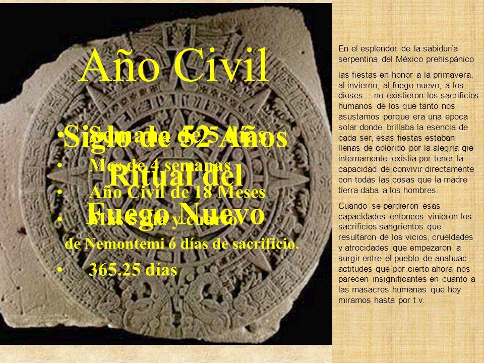 Alrededor del símbolo del movimiento encontramos los 20 días que se utilizaron para medir el tiempo en el México antiguo y de acuerdo a la ley de anal