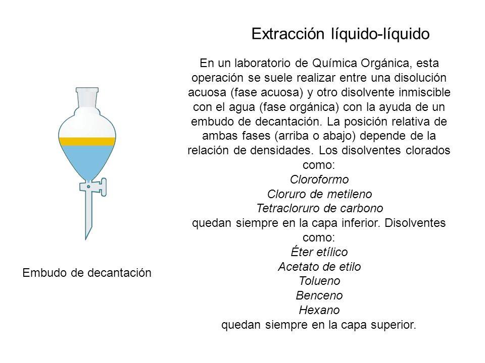 Embudo de decantación En un laboratorio de Química Orgánica, esta operación se suele realizar entre una disolución acuosa (fase acuosa) y otro disolve