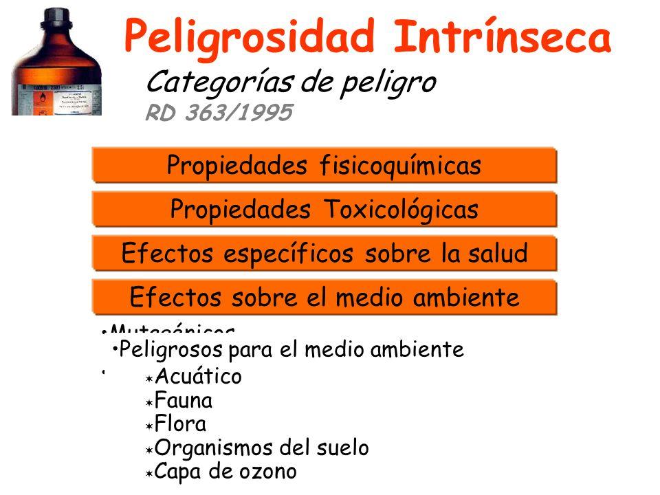 PROPIEDADES FISICOQUÍMICAS CRITERIOS DE CLASIFICACIÓN DE PELIGROSIDAD Anexo VI; RD 363/1995