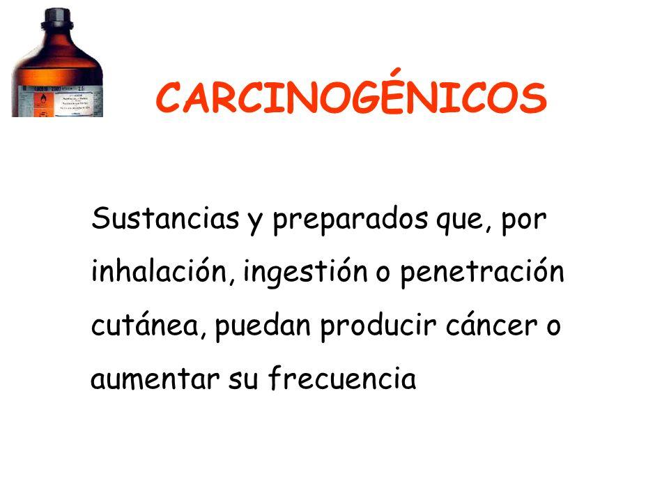 CARCINOGÉNICOS Sustancias y preparados que, por inhalación, ingestión o penetración cutánea, puedan producir cáncer o aumentar su frecuencia