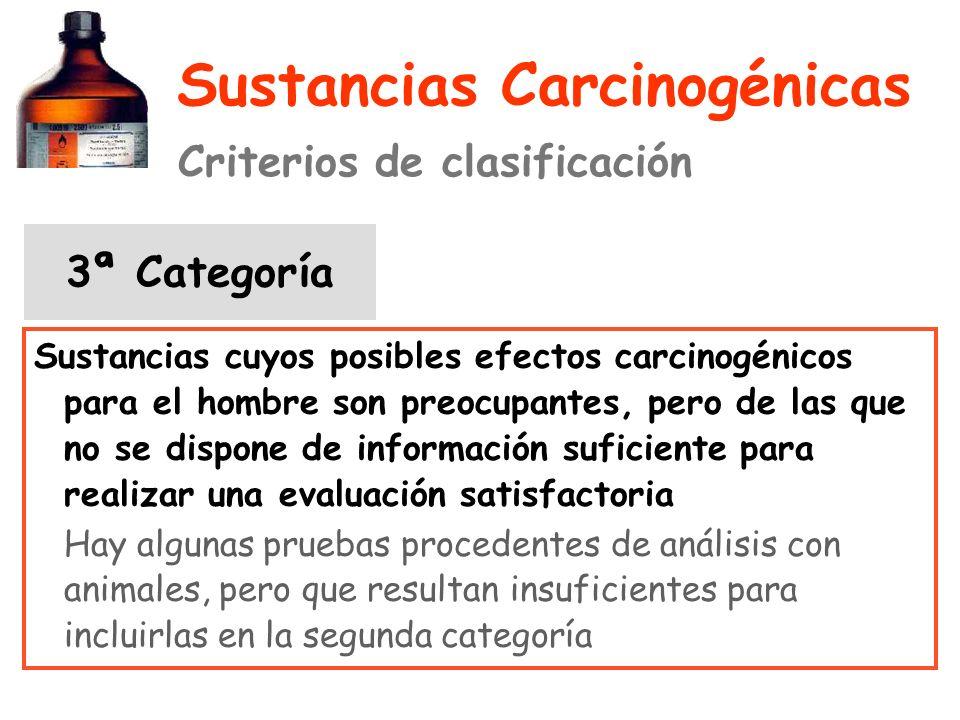 Sustancias Carcinogénicas Criterios de clasificación 3ª Categoría Sustancias cuyos posibles efectos carcinogénicos para el hombre son preocupantes, pero de las que no se dispone de información suficiente para realizar una evaluación satisfactoria Hay algunas pruebas procedentes de análisis con animales, pero que resultan insuficientes para incluirlas en la segunda categoría