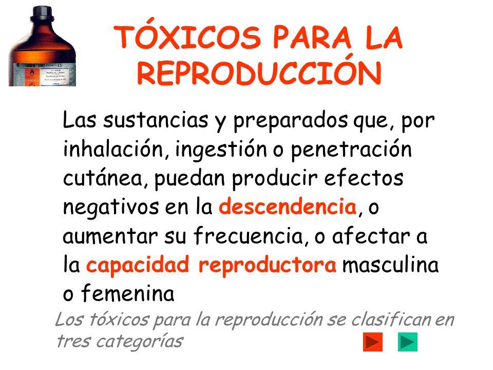 TÓXICOS PARA LA REPRODUCCIÓN Las sustancias y preparados que, por inhalación, ingestión o penetración cutánea, puedan producir efectos negativos en la descendencia, o aumentar su frecuencia, o afectar a la capacidad reproductora masculina o femenina Los tóxicos para la reproducción se clasifican en tres categorías