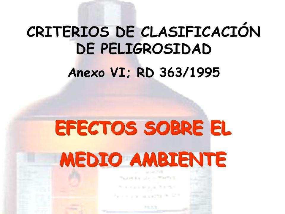 EFECTOS SOBRE EL MEDIO AMBIENTE CRITERIOS DE CLASIFICACIÓN DE PELIGROSIDAD Anexo VI; RD 363/1995