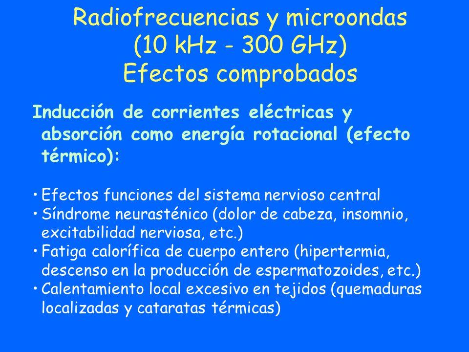 Radiofrecuencias y microondas (10 kHz - 300 GHz) Efectos comprobados Inducción de corrientes eléctricas y absorción como energía rotacional (efecto té
