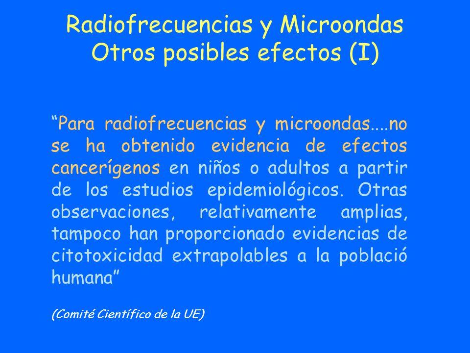 Radiofrecuencias y Microondas Otros posibles efectos (I) Para radiofrecuencias y microondas....no se ha obtenido evidencia de efectos cancerígenos en