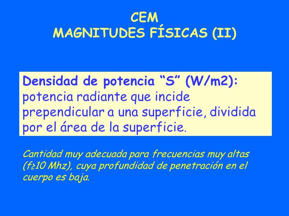 Densidad de potencia S (W/m2): potencia radiante que incide prependicular a una superficie, dividida por el área de la superficie. CEM MAGNITUDES FÍSI