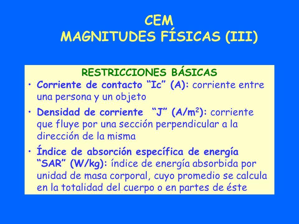 CEM MAGNITUDES FÍSICAS (III) RESTRICCIONES BÁSICAS Corriente de contacto Ic (A): corriente entre una persona y un objeto Densidad de corriente J (A/m