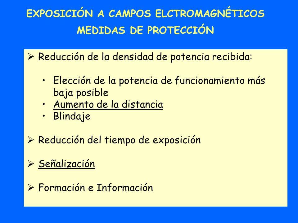 EXPOSICIÓN A CAMPOS ELCTROMAGNÉTICOS MEDIDAS DE PROTECCIÓN Reducción de la densidad de potencia recibida: Elección de la potencia de funcionamiento má