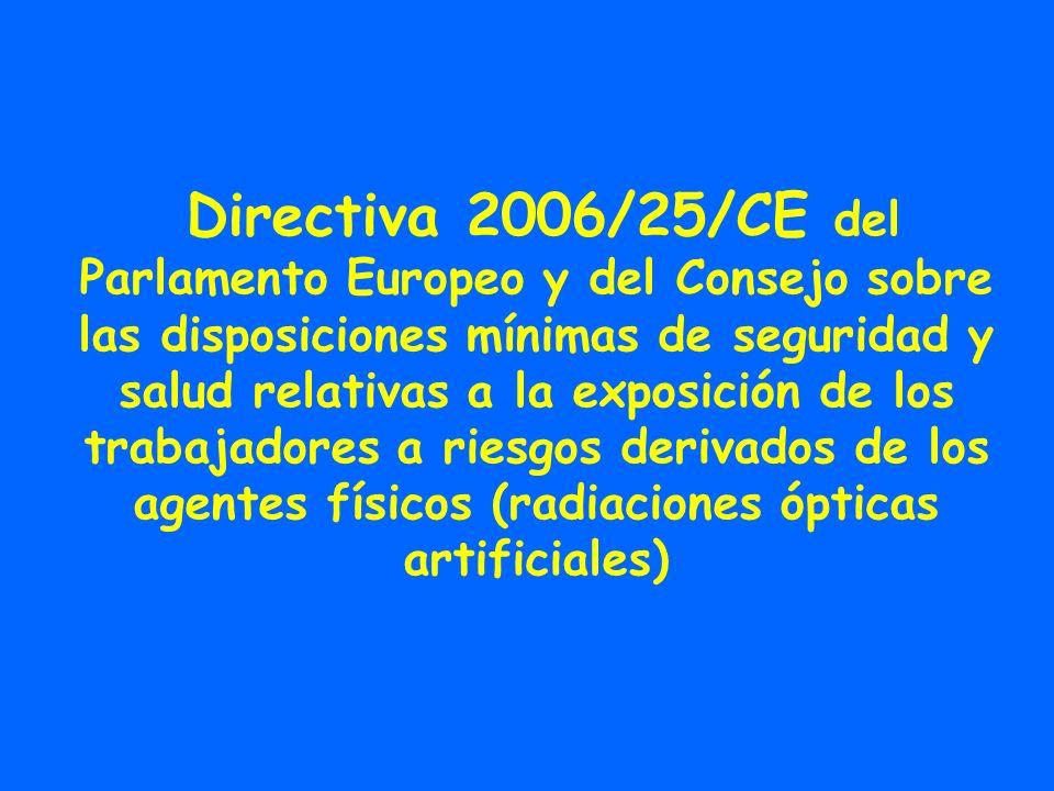 Directiva 2006/25/CE del Parlamento Europeo y del Consejo sobre las disposiciones mínimas de seguridad y salud relativas a la exposición de los trabaj