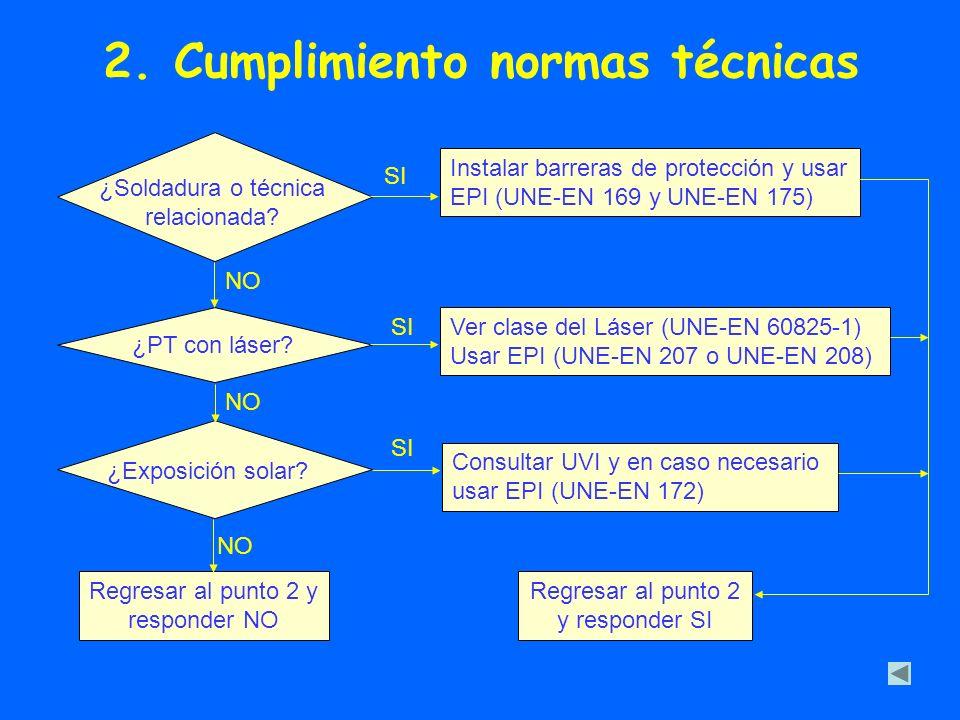 2. Cumplimiento normas técnicas ¿Soldadura o técnica relacionada? Instalar barreras de protección y usar EPI (UNE-EN 169 y UNE-EN 175) ¿PT con láser?