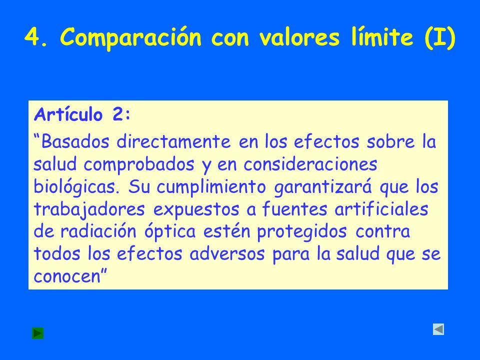4. Comparación con valores límite (I) Artículo 2: Basados directamente en los efectos sobre la salud comprobados y en consideraciones biológicas. Su c