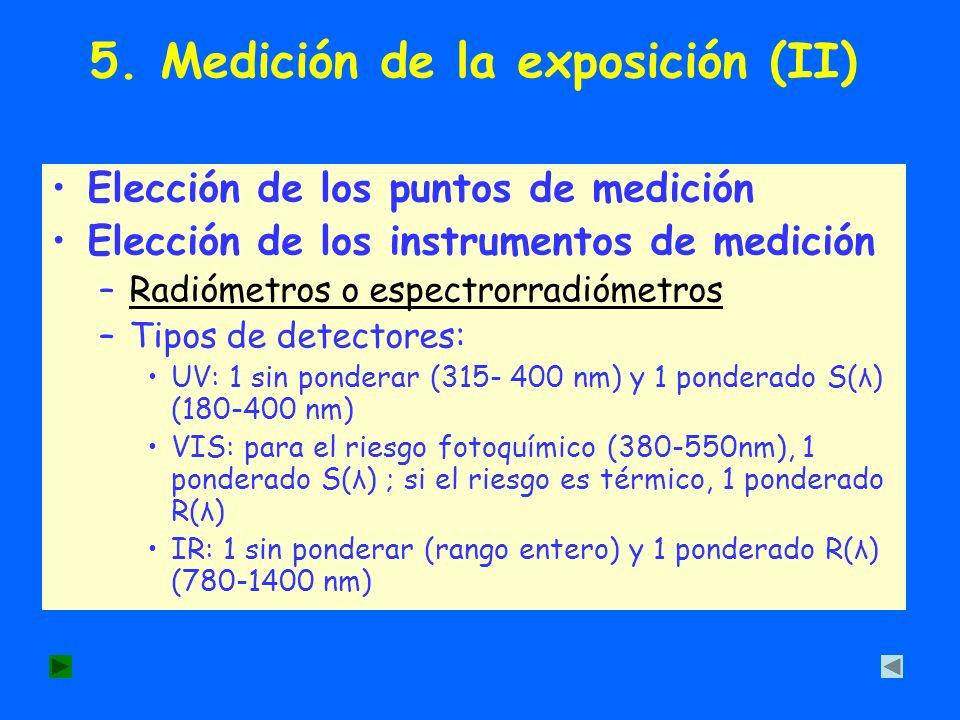 5. Medición de la exposición (II) Elección de los puntos de medición Elección de los instrumentos de medición –Radiómetros o espectrorradiómetrosRadió