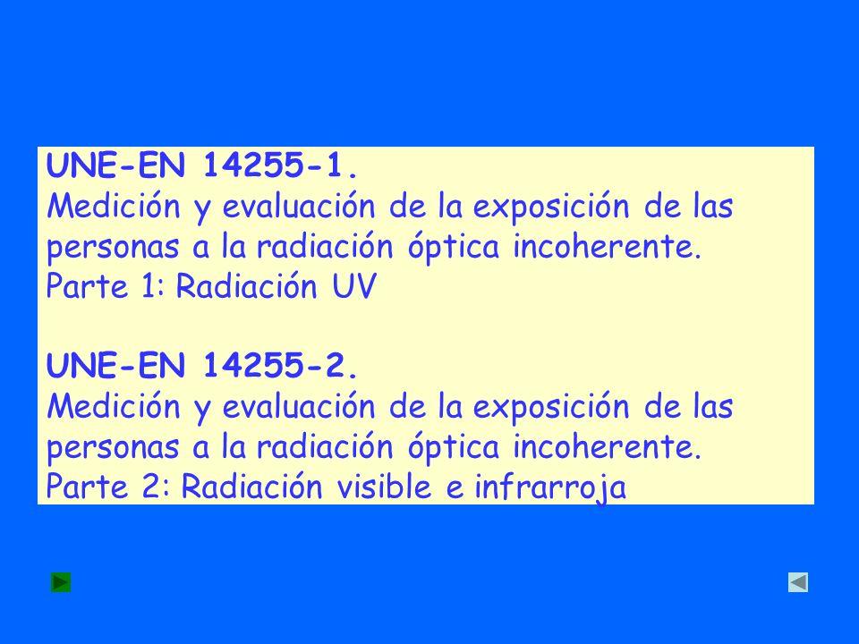 UNE-EN 14255-1. Medición y evaluación de la exposición de las personas a la radiación óptica incoherente. Parte 1: Radiación UV UNE-EN 14255-2. Medici