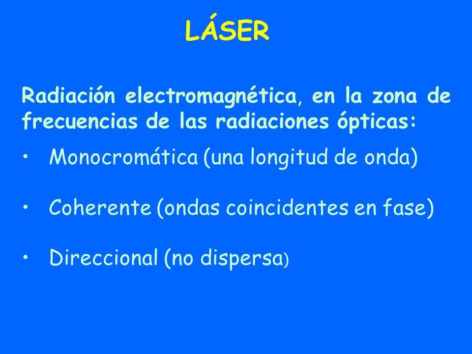 LÁSER Radiación electromagnética, en la zona de frecuencias de las radiaciones ópticas: Monocromática (una longitud de onda) Coherente (ondas coincide