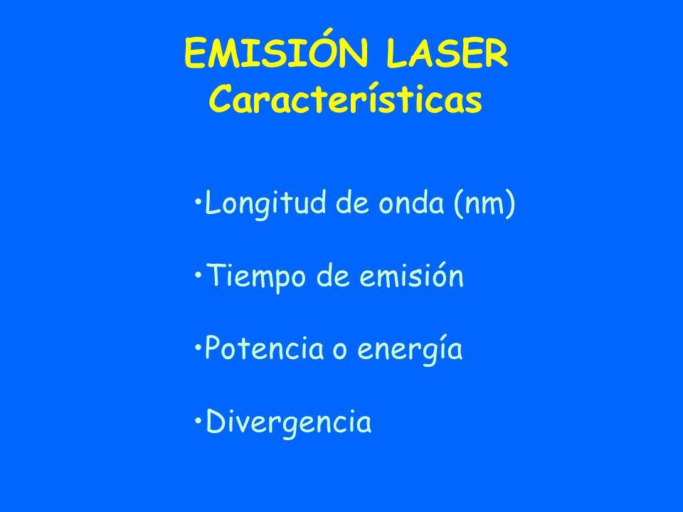 EMISIÓN LASER Características Longitud de onda (nm) Tiempo de emisión Potencia o energía Divergencia