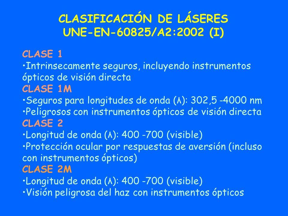 CLASIFICACIÓN DE LÁSERES UNE-EN-60825/A2:2002 (I) CLASE 1 Intrinsecamente seguros, incluyendo instrumentos ópticos de visión directa CLASE 1M Seguros