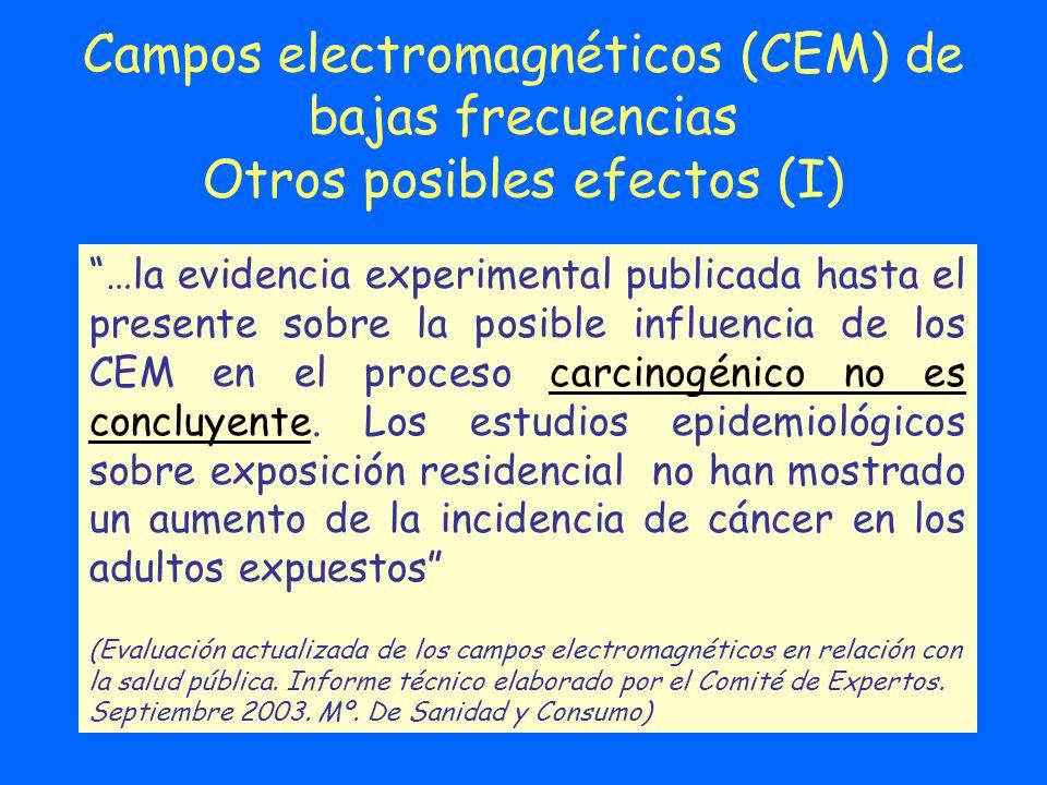 Campos electromagnéticos (CEM) de bajas frecuencias Otros posibles efectos (I) …la evidencia experimental publicada hasta el presente sobre la posible