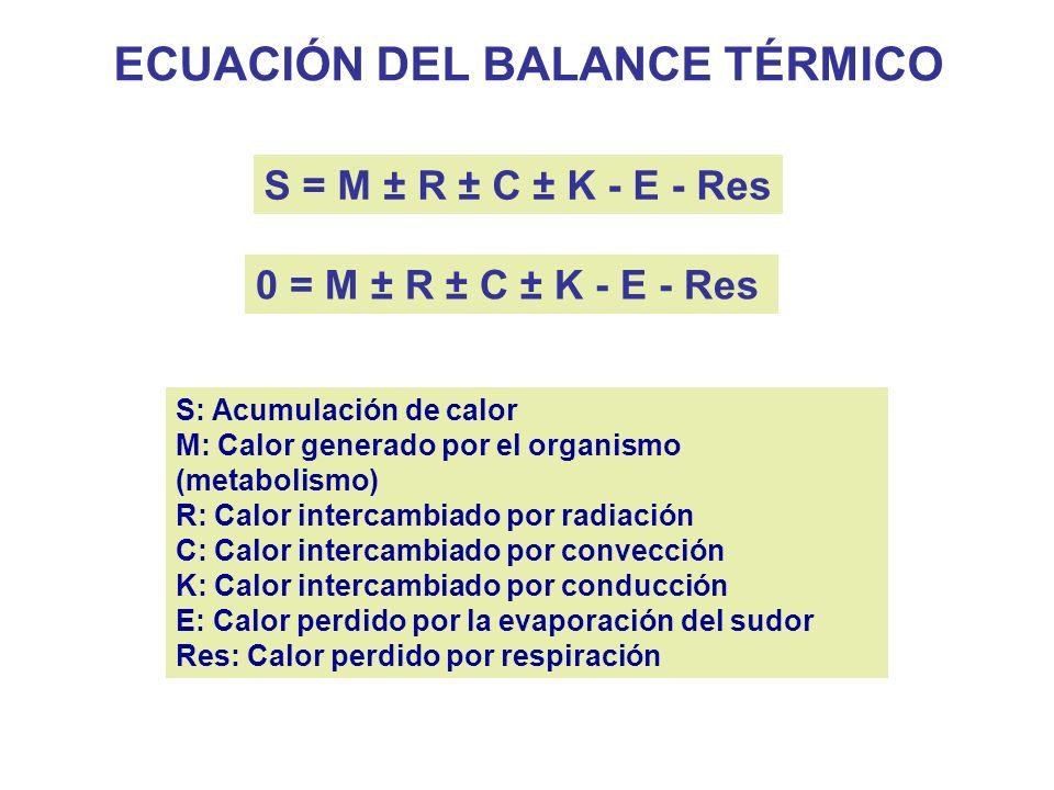 ECUACIÓN DEL BALANCE TÉRMICO S = M ± R ± C ± K - E - Res S: Acumulación de calor M: Calor generado por el organismo (metabolismo) R: Calor intercambiado por radiación C: Calor intercambiado por convección K: Calor intercambiado por conducción E: Calor perdido por la evaporación del sudor Res: Calor perdido por respiración 0 = M ± R ± C ± K - E - Res