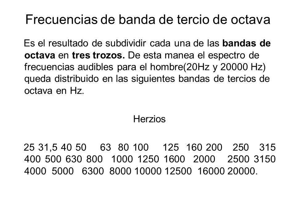 Frecuencias de banda de tercio de octava Es el resultado de subdividir cada una de las bandas de octava en tres trozos. De esta manea el espectro de f