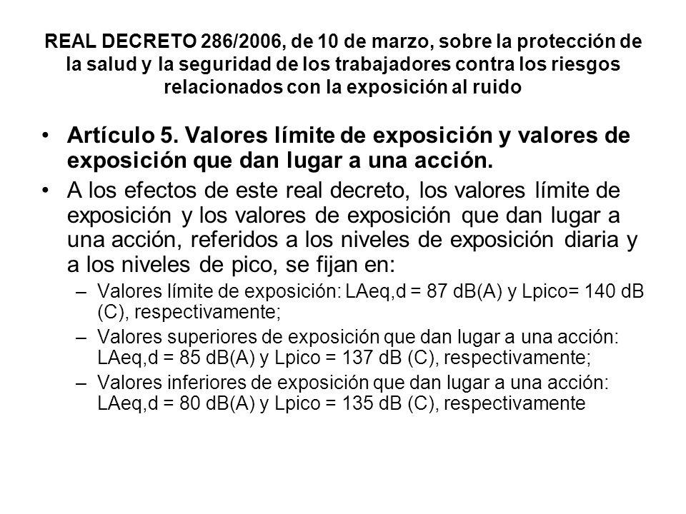 REAL DECRETO 286/2006, de 10 de marzo, sobre la protección de la salud y la seguridad de los trabajadores contra los riesgos relacionados con la expos