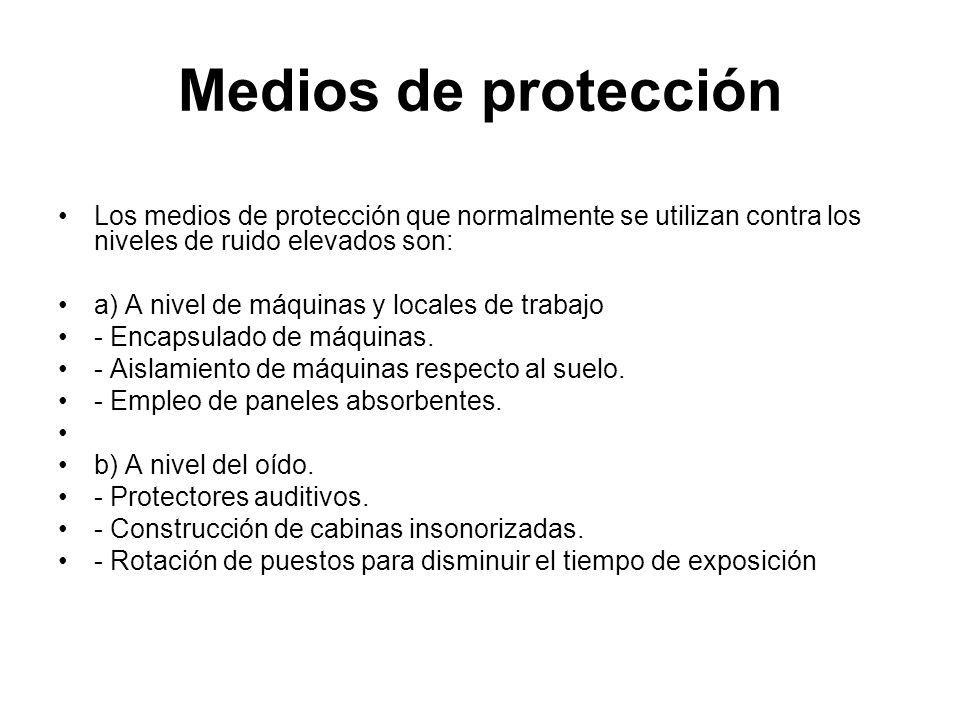 Medios de protección Los medios de protección que normalmente se utilizan contra los niveles de ruido elevados son: a) A nivel de máquinas y locales d