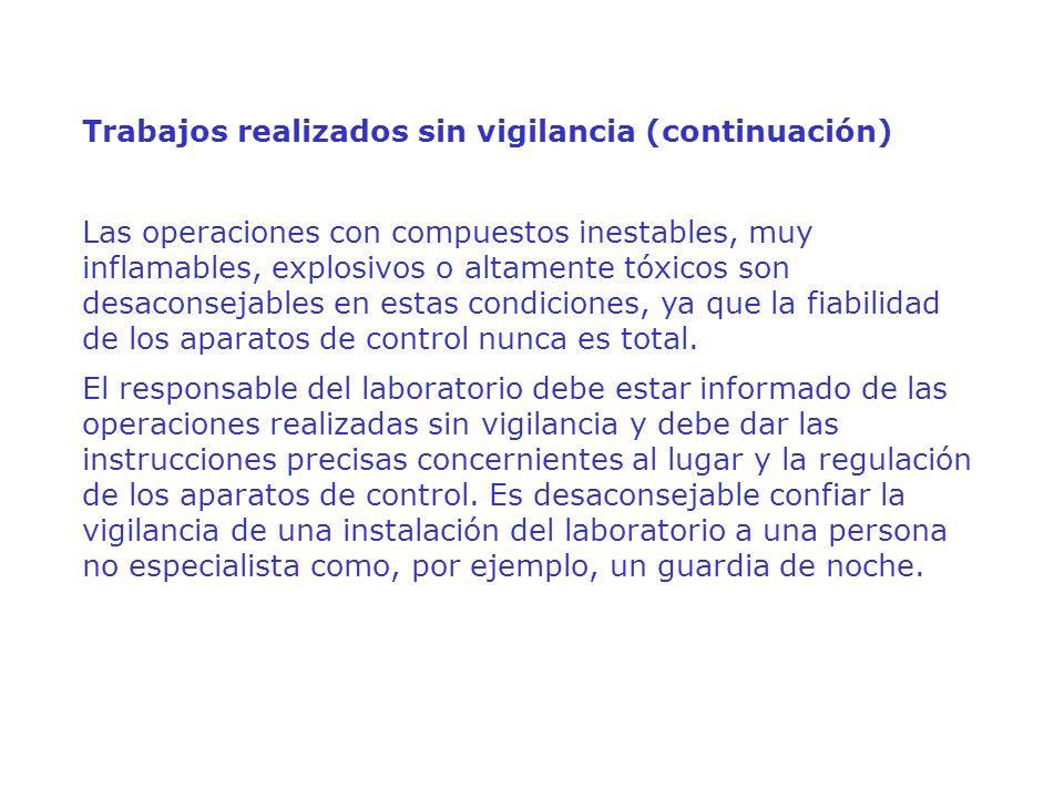 Trabajos realizados sin vigilancia (continuación) Las operaciones con compuestos inestables, muy inflamables, explosivos o altamente tóxicos son desac