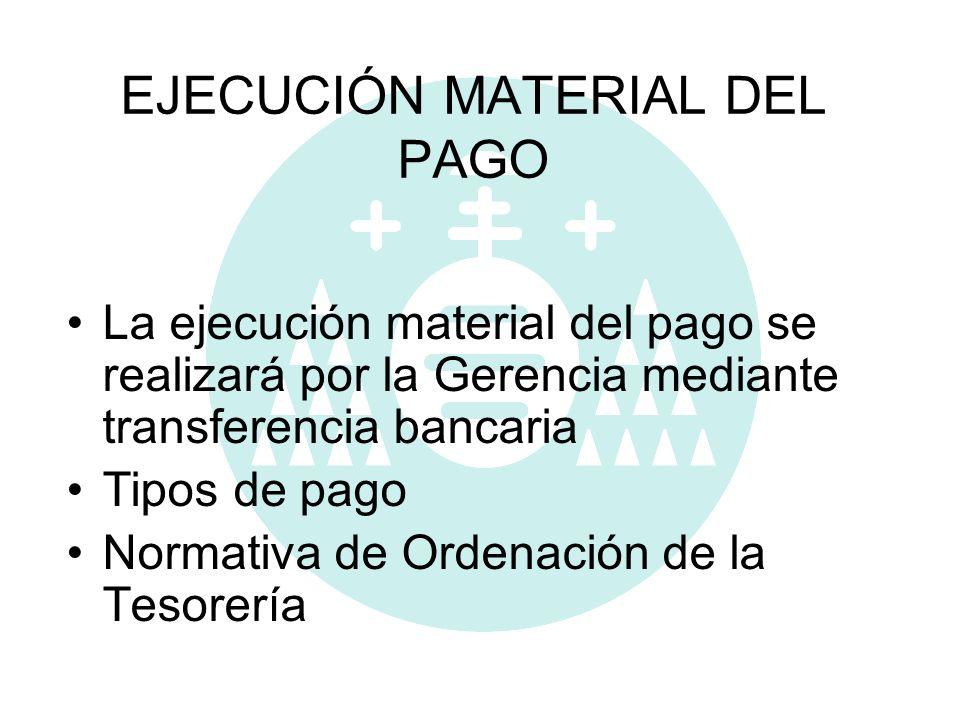 EJECUCIÓN MATERIAL DEL PAGO La ejecución material del pago se realizará por la Gerencia mediante transferencia bancaria Tipos de pago Normativa de Ord