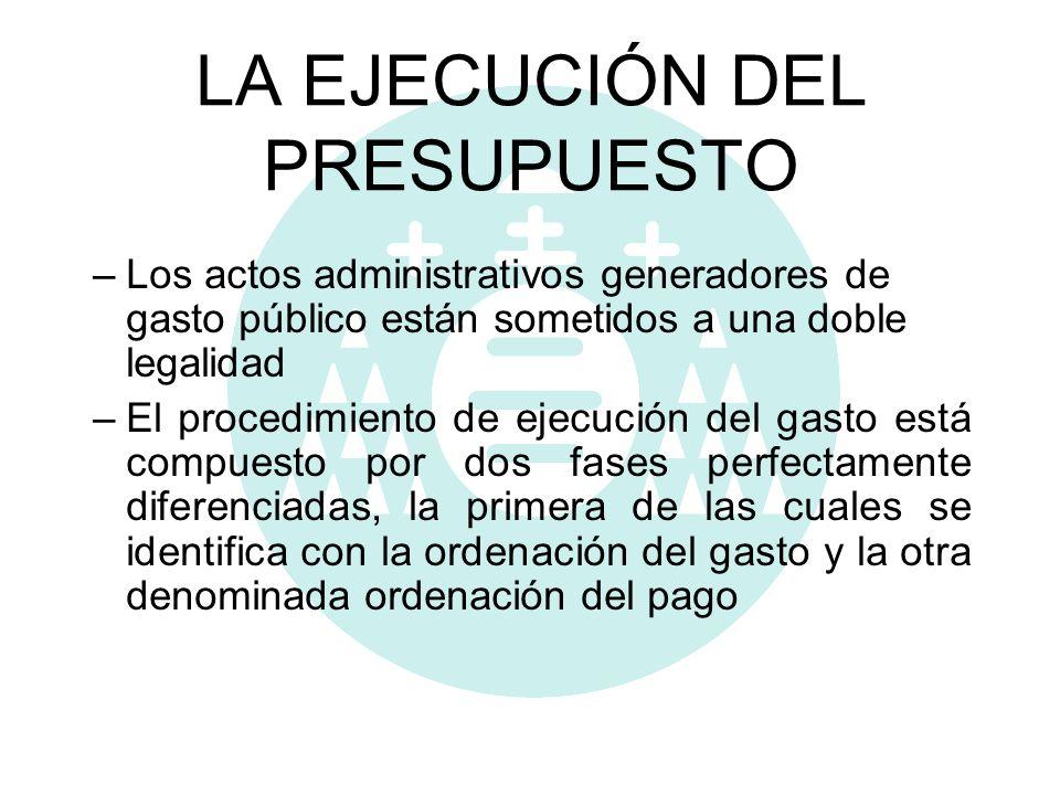 LA EJECUCIÓN DEL PRESUPUESTO –Los actos administrativos generadores de gasto público están sometidos a una doble legalidad –El procedimiento de ejecuc