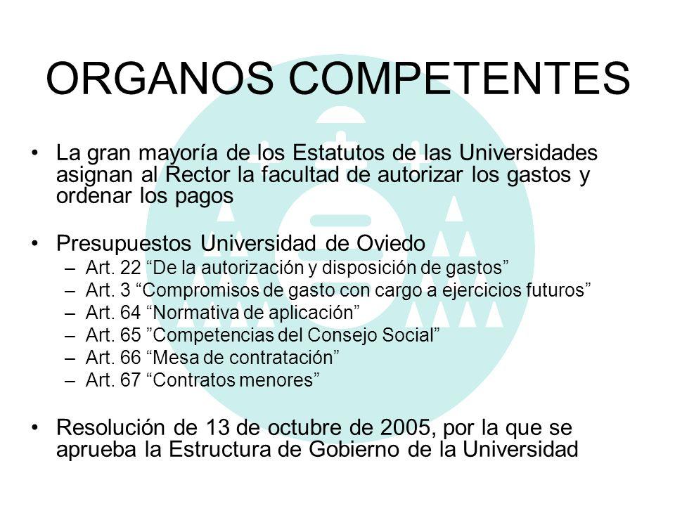 ORGANOS COMPETENTES La gran mayoría de los Estatutos de las Universidades asignan al Rector la facultad de autorizar los gastos y ordenar los pagos Pr