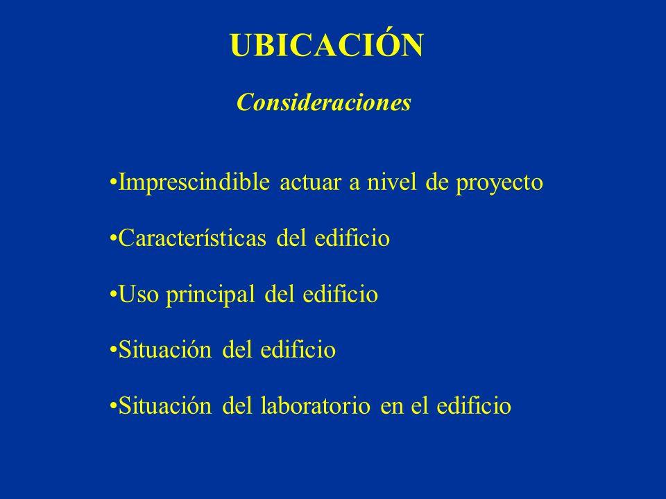 UBICACIÓN Imprescindible actuar a nivel de proyecto Características del edificio Uso principal del edificio Situación del edificio Situación del labor