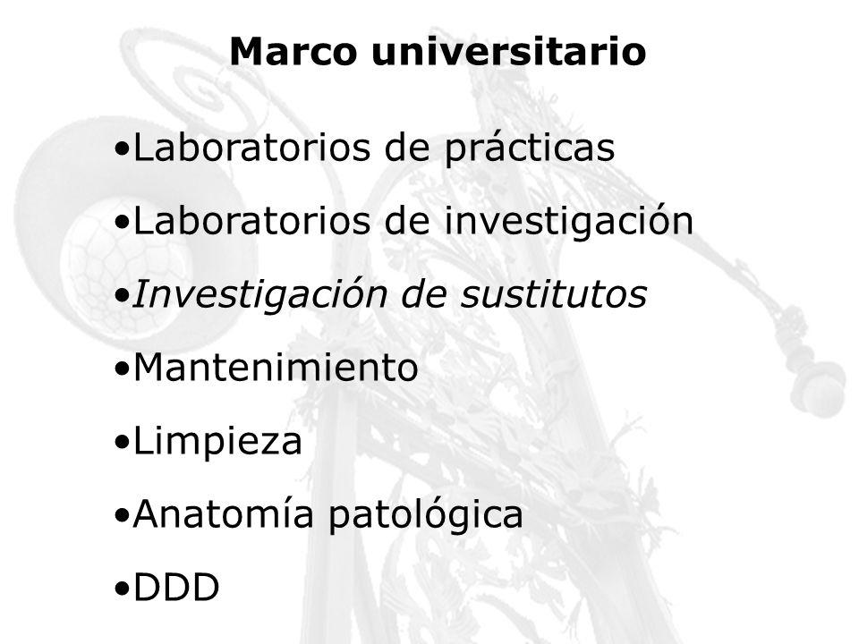 Marco universitario Laboratorios de prácticas Laboratorios de investigación Investigación de sustitutos Mantenimiento Limpieza Anatomía patológica DDD