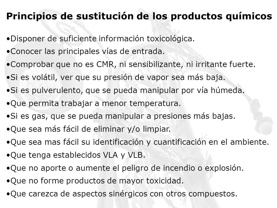 Programas de substitución específicos para los laboratorios Harvard University www.uos.harvard.edu/ehs Stanforf University (USA) http://www.stanford.edu/dept/EHS/prod/enviro/lab_product_sub.html Brook, B Chemical substitution in the undergraduate chemistry curriculum http://hdl.handle.net/1860/147 National Research Council Prudent Practices in the Laboratory: Handling and Disposal of Chemicals National Academies Press, 1995.