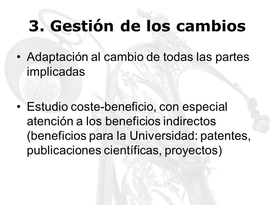3. Gestión de los cambios Adaptación al cambio de todas las partes implicadas Estudio coste-beneficio, con especial atención a los beneficios indirect